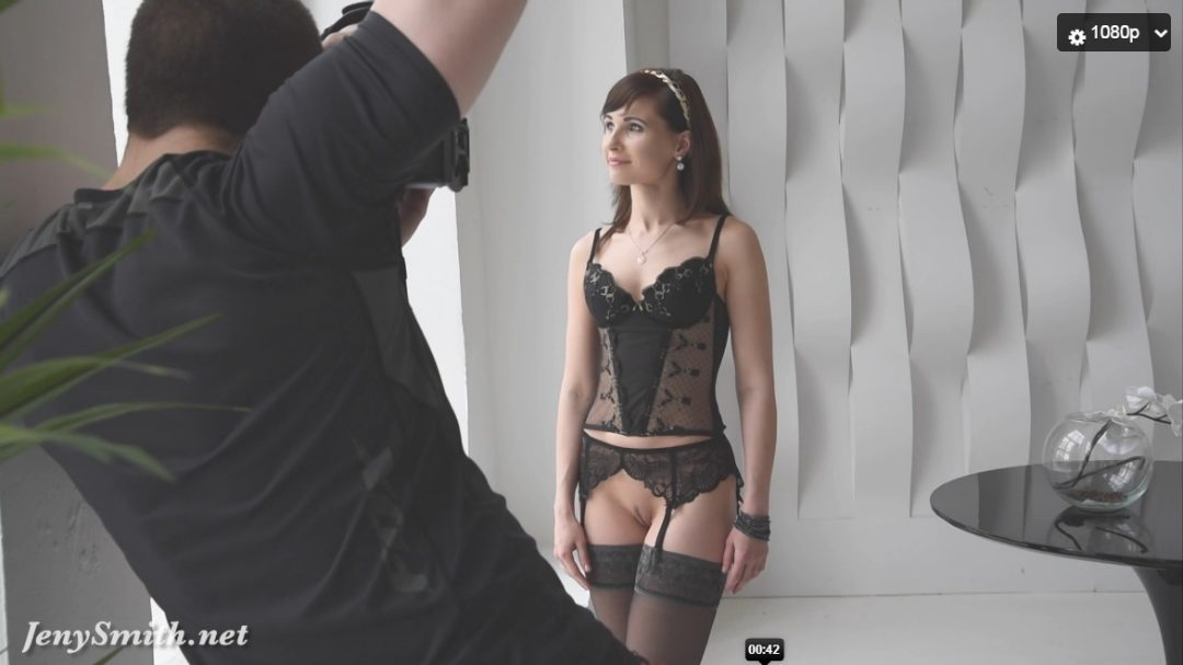 Jeny Smith Sexy Black Corset Photoshoot Video
