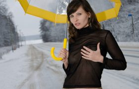 Free Gallery: Jeny Smith Outside with Umbrella