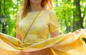 Free Gallery: Jeny Smith Public Flashing in Yellow Dress