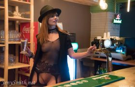 Free Gallery: Jeny Smith Bartender in High Heel Boots & Fishnets