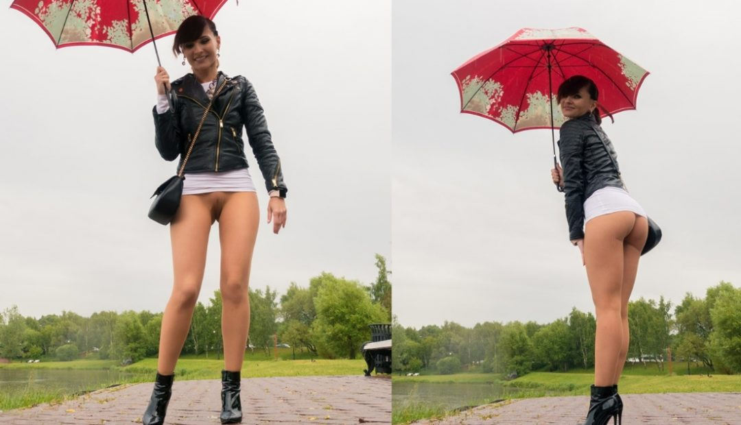 Free Photo Gallery: Jeny Smith Red Umbrella in Pantyhose